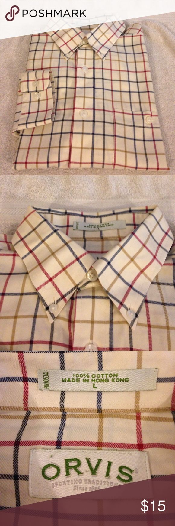 Orvis Tan w/ Red, Navy & Gold Plaid Shirt L Orvis Tan with Red, Navy and Gold Plaid Shirt size L! Like new! Please make reasonable offers and bundle! Ask questions :) Orvis Shirts Casual Button Down Shirts