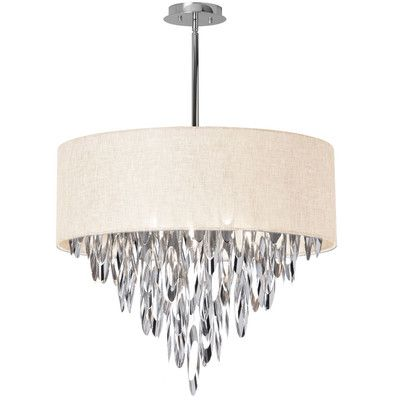 Dainolite allegro polished chrome eight light chandelier with grey shade on sale