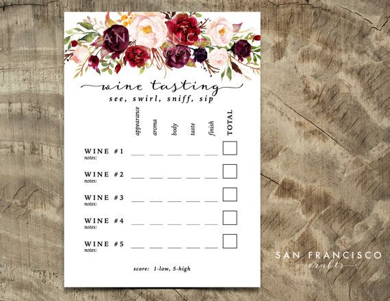 Wine Tasting Card - Printable Wine Tasting Scorecard - Holly Collection -  PDF Instant Download