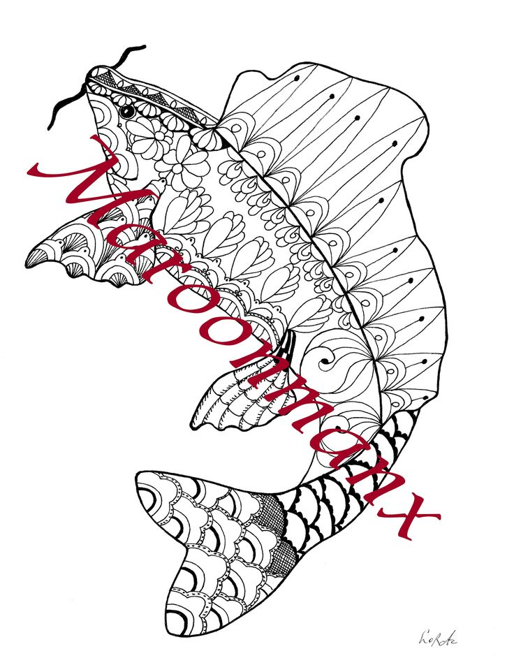 Koi Animal Exotic Fish Japanese Art Adult Coloring Page Downloadable Printable Art Gifts by Maroonmanx on Etsy