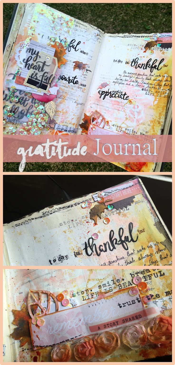 Gratitude Journal - Mixed media art journalling with youtube video using Colouarte and Maggie Holmes