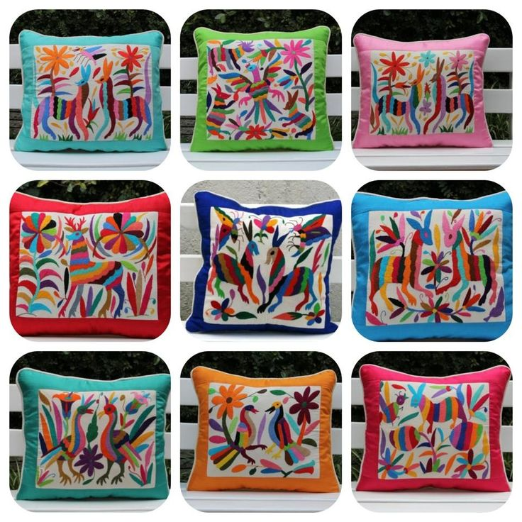 Otomi textile silk and linen cushion pillows Www.casaotomi.com Mexican hand embroidery embroidered tenango Mexican suzani