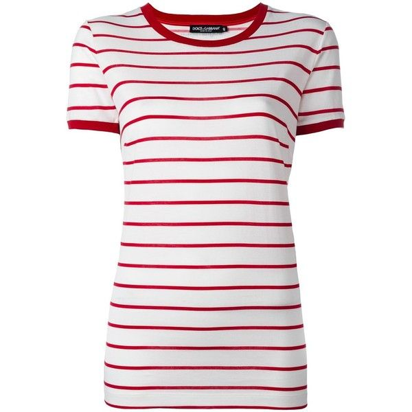 Dolce & Gabbana striped T-shirt (3 440 SEK) ❤ liked on Polyvore featuring tops, t-shirts, white, white stripes t shirt, cotton tees, white cotton t shirts, striped tee and white round neck t shirt