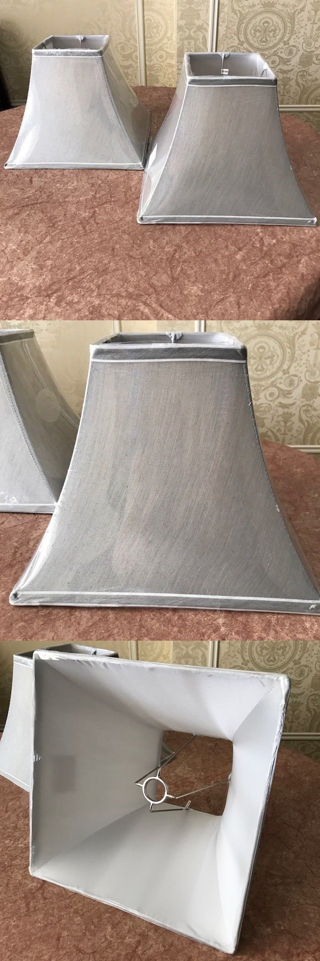 Square bedside lamp shades better lamps square lamp shades - Lamp Shades 20708 Pair Of 2 Silk Blend Square Lamp Shades Gray Grey
