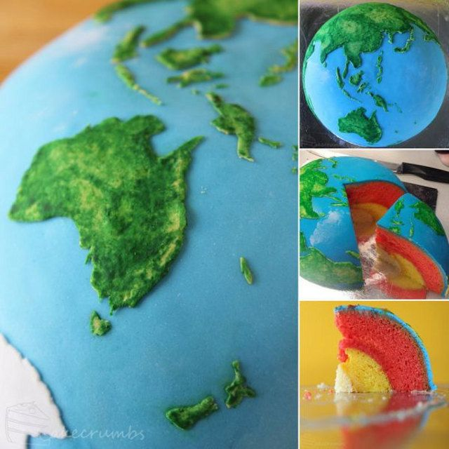 Earth cake with different colored interior layers baked inside each other by Rhiannon of Baking Adventures