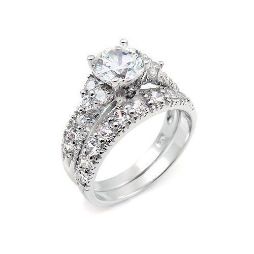 3.5 CT STERLING SILVER ROUND WEDDING ENGAGEMENT RING SET SIZE 4 5 6 7 8 9 10 11