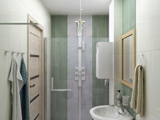 Ванная комната имеет гармоничный и, что немало важно, практичный интерьер. Здесь установлена просторная душевая, украшенная стеклянной мозаикой. Выбор же раковины пал на раковину с подиумом. Для хранения предметов личной гигиены и душевых принадлежностей был установлен настенный шкаф.  Все аксессуары, необходимые в ванной комнате, были выбраны в едином стиле.