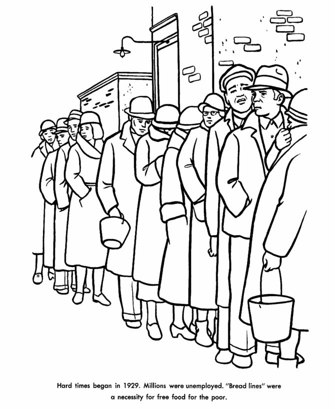 The Great Depression Coloring Page