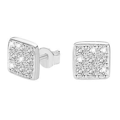 Zilveren heren oorbellen met zirkonia vierkant