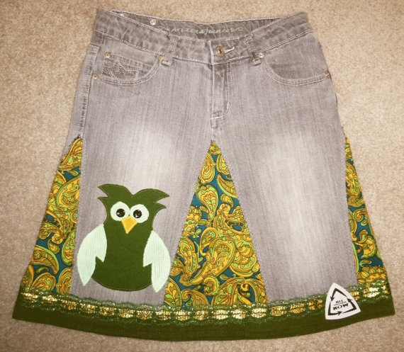 Gorgeous OOAK Upcycled Jean Skirt Size 14 Juniors Etsy
