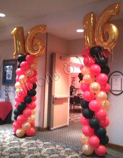 Sweet 15 16 balloon decorations sweet 15 16 pinterest for Balloon decoration ideas for sweet 16