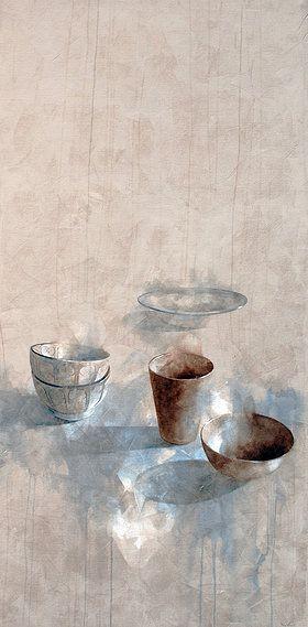 Subtle, beautiful still life painting by Nono García: Composición marroquí-Moroccan Composition, mixed media/canvas, 195x97 cm.                                                                                                                                                                                 Más