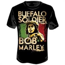 Bob Marley Buffalo Soldier Men's T Shirt (Black)    This black Bob Marley Men's Tee features an image of a revolutionary Bob Marley in a gold tint with a background of red and green. Buffalo Soldier is printed above Bob's image and Bob Marley is printed below his image.    The classic look T Shirt. Made of soft, durable 100% pre-shrunk cotton.