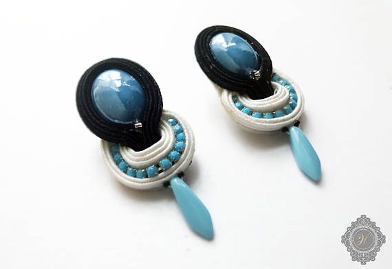 Turquoise soutache blue white black beaded earrings with