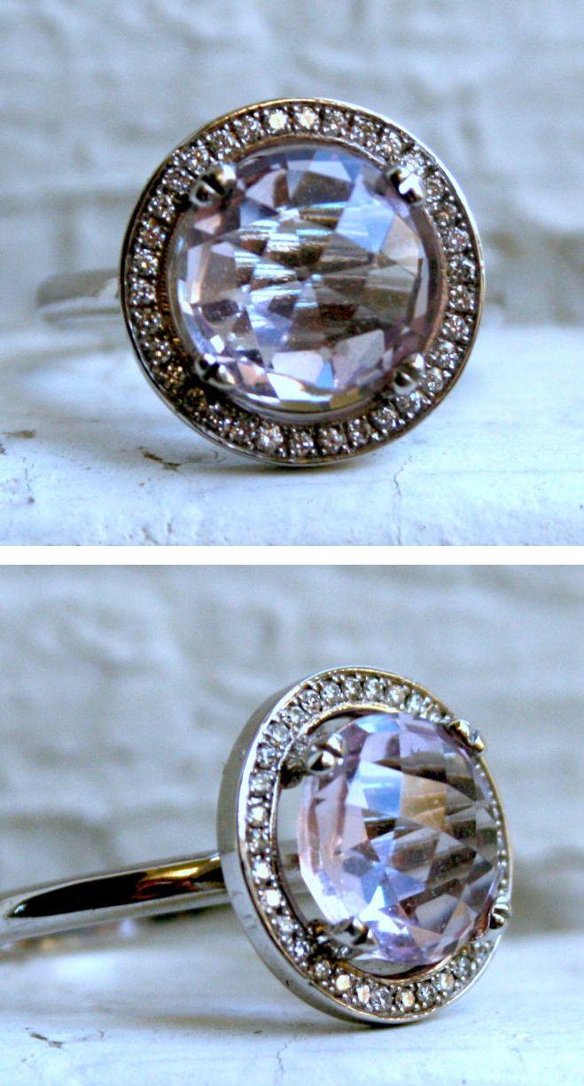 Rose Quartz Halo Diamond Ring - Vintage