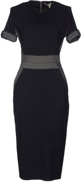 Victoria Beckham Knee Length Dress in Black - Lyst
