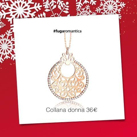 Collana in metallo con bagno in oro rosa e cristalli bianchi Luca Barra Gioielli. #collana #donna #newcollection #lucabarra #idearegalo #natale