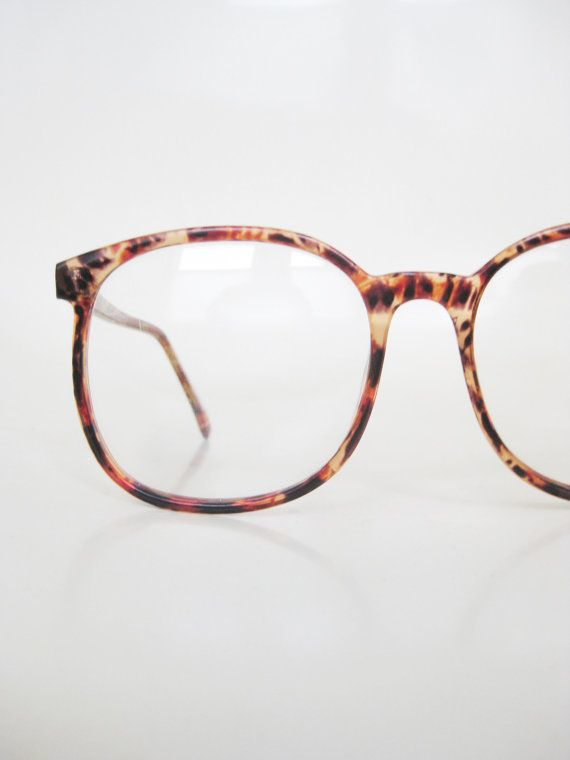 Vintage 1980s Oversized Eyeglasses Glasses Womens Mens Unisex Indie Hipster Chic Geeky Nerdy Deadstock NOS New Old Stock Amber Tortoiseshell