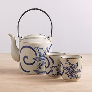 asian inspired teapots and tea cups