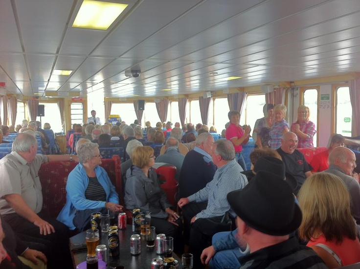 On board The Donegal Bay Waterbus. The full bar on board was busy today.