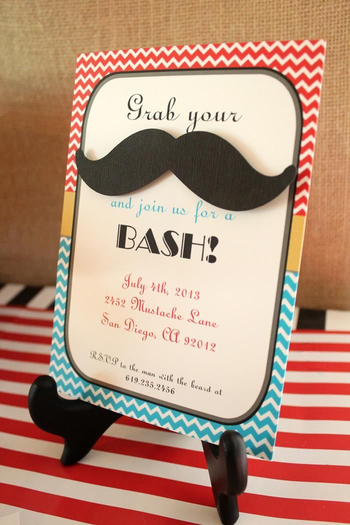 wording ideas forst birthday party invitation%0A Invitation for mustache bash birthday party  invitation  mustache  party