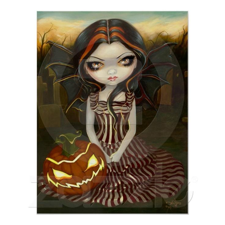 Halloween Twilight gothic fairy pumpkin Art Print Zazzle
