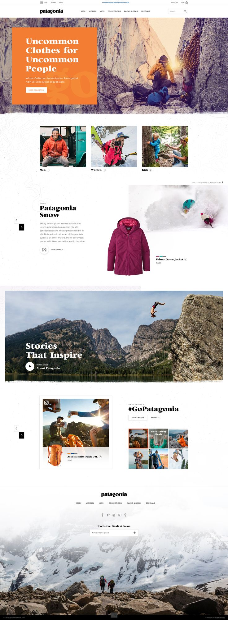 Patagonia Website Design Concept by: Mike Delsing