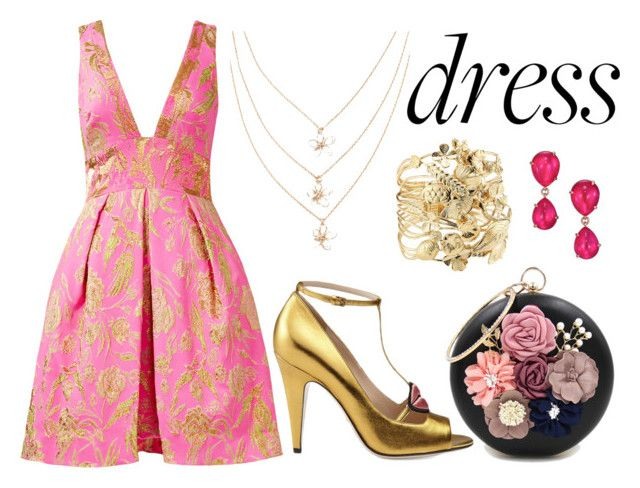 Dreamy Dress by ratihasmarani on Polyvore featuring Notte by Marchesa, Gucci, WithChic, Aurélie Bidermann, Pomellato, gold, Pink, dress and dreamydresses