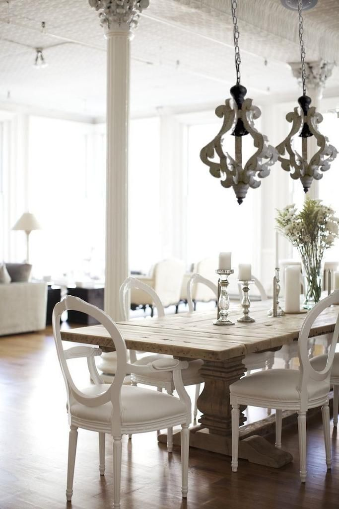 Antiqued White Painted Distressed Wood Pendant