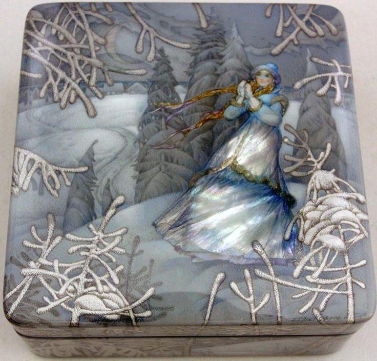 Kozlov Sergey, Fedoskino lacquer box, Snowmaiden.