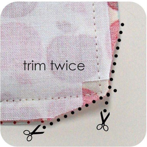 Sewing Hacks | Best Tips and Tricks for Sewing Patterns, Projects, Machines, Hand Sewn Items. Clever Ideas for Beginners and Even Experts  |  Trim Edges Of Your Corner Seams Before Turning Inside Out  |  http://diyjoy.com/sewing-hacks
