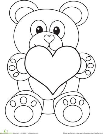 Kids had fun coloring this! Worksheets: Valentine's Day Bear Coloring Page