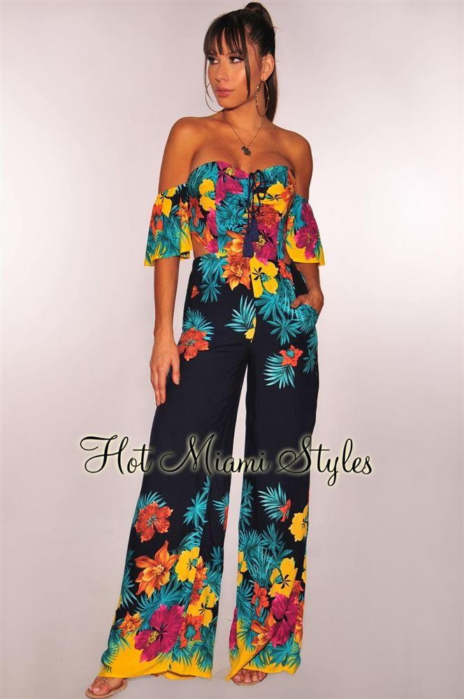 ecfb6a2060a Navy Coral Floral Lace Up Palazzo Jumpsuit. Navy Tropical Floral Off  Shoulder Cut Out Jumpsuit