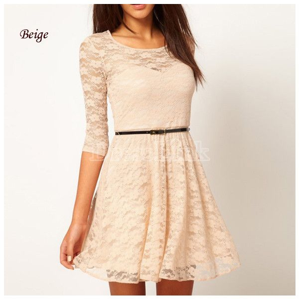 Ladies Round Neck 3/4 Sleeve Lace Dress With Belt ($11) via Polyvore featuring dresses, round neck dress, three quarter length sleeve dresses, beige dress, 3/4 sleeve dress and 3/4 sleeve lace dress