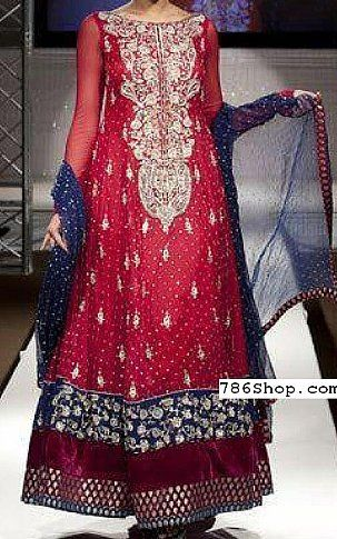 Magenta Crinkle Chiffon Suit | Buy Pakistani Fashion Dresses and Clothing Online in USA, UK