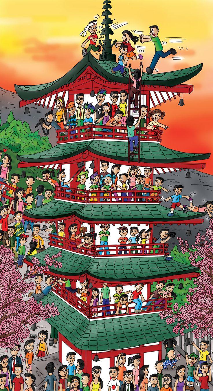 This building took me forever... but it's done. Yay! Japan!  #Japan #Japanesebuilding #Japancartoon #Childrensbooks #Kidsbooks #Japanesechildren