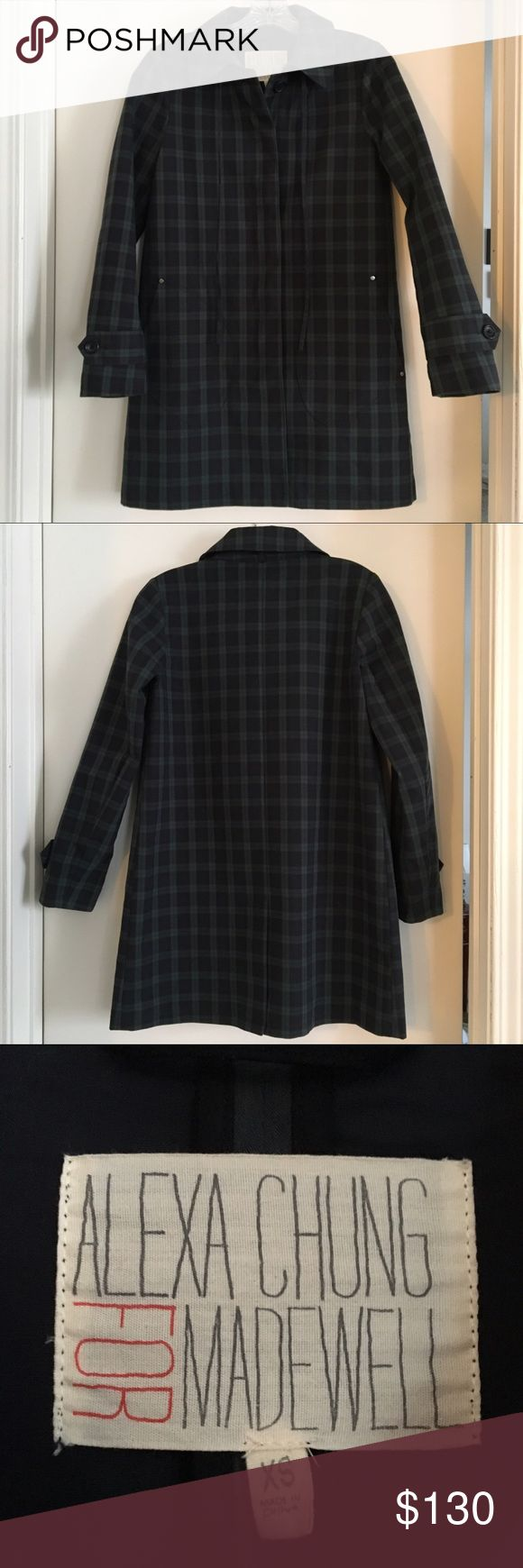 Alexa Chung for Madewell Shrimp Coat Alexa Chung for Madewell Shrimp Coat, size XS, in the Navy Shadow color. The coat is 100% cotton. Used, but in perfect condition. The coat is a very thick shell that makes for an excellent wind breaker or rain jacket. I'm only parting with it because it no longer fits me, and will gladly trade for the same coat in a Small, or other items from the Alexa Chung for Madewell collaboration. Madewell Jackets & Coats