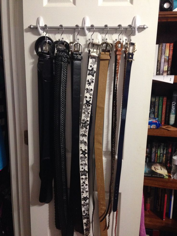 Belt Organizer Hanger Made Using A Small Curtain Rod