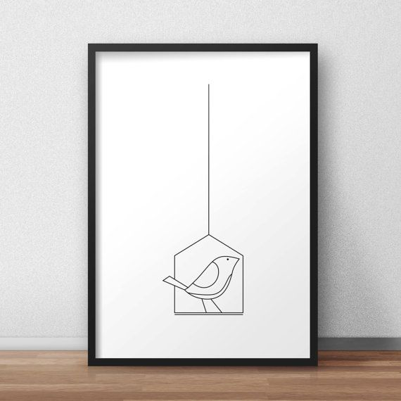 printable poster bird Modern Art nordic design by CHIPdesignStore