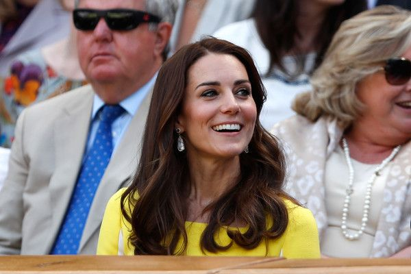 Catherine, Duchess of Cambridge watches on from The Royal Box as Serena Williams of The United States faces Elena Vesnina of Russia during the Ladies Singles Semi Final match on day ten of the Wimbledon Lawn Tennis Championships at the All England Lawn Tennis and Croquet Club on July 7, 2016 in London, England.
