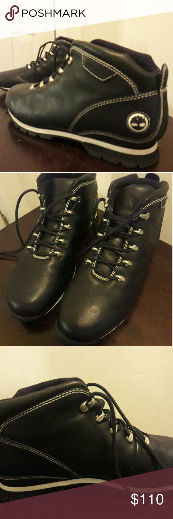Timberland Euro Hiker Boots These awesome Timberland Euro Hiker Boots are black leather with white trim. Size 11. In great, gently-used condition. Worn only once. Great deal! Claim them today. Timberland Shoes Chukka Boots