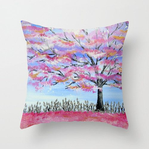 throw pillow case with cherry blossom japanese by DoAntsDream