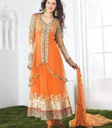 Buy Orange embroidered net semi stitched salwar with dupatta anarkali-salwar-kameez online