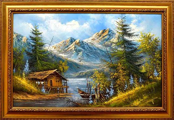Decorative oil painting on canvas  Mountain spring