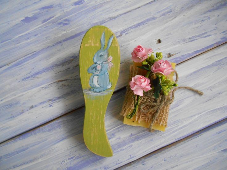 Hair wooden comb Wood combs Handpainted wood comb Green hair brush Girls comb Bunny comb Decorative Wooden comb Daughter gift Vanity decor by MilaPollyart on Etsy