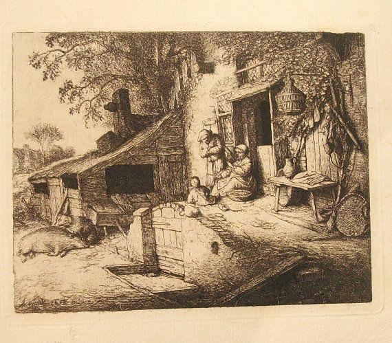 Antique Etching by Adriaen van Ostade /The Spinner/
