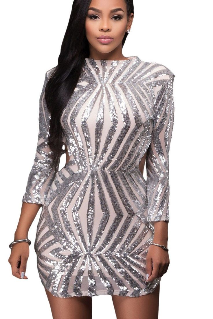 Robe de Soiree Courte Paillettes Argent Dos Nu Manches Longues Pas Cher www.modebuy.com @Modebuy #Modebuy #Argent #mode #trending #outfits #shopping