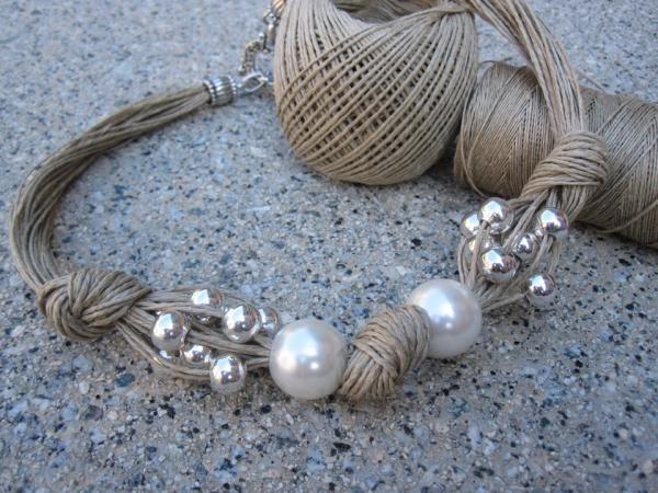 Collar de lino, xl perlas fantasia , perlas plateadas y nudos - artesanum com
