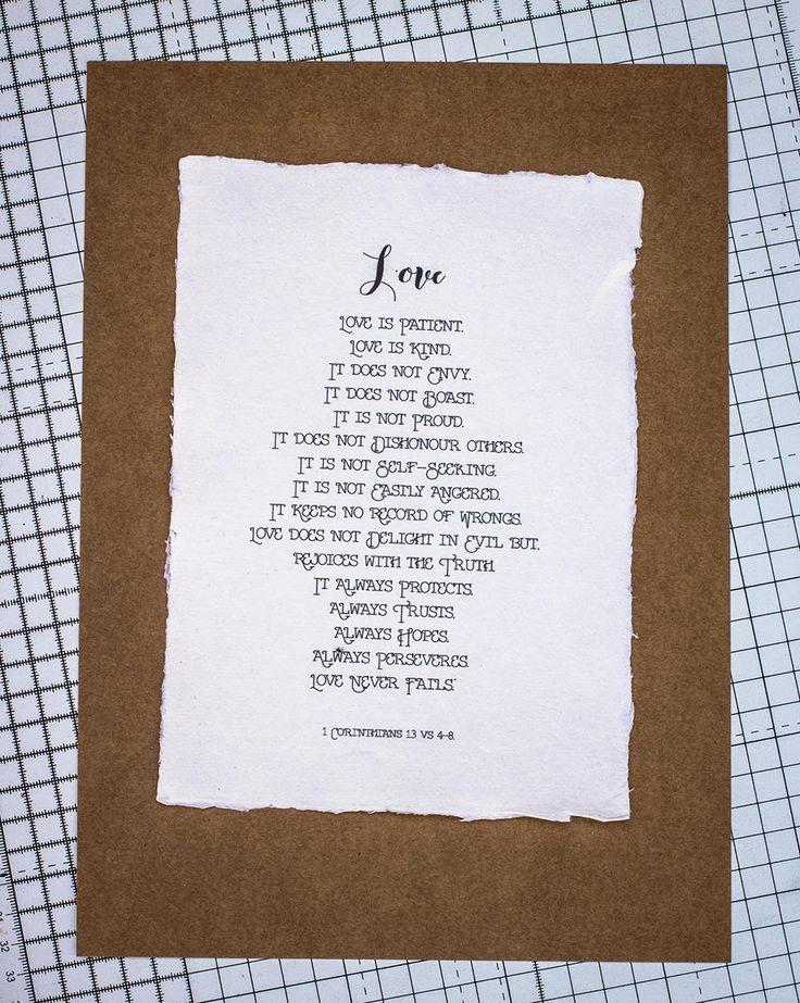 Wedding Print, Love is Patient, Love is Kind, on Handmade Paper, Christian Bible Print, Wedding Memento, Wedding Gift, Wedding Present by SBsPrintables on Etsy