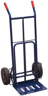 """Magasinkärra Fällbar   lasttå: 34 x 63 cm.   Fast lastplatta: 41 x 30 cm.   Luftgummihjul (10"""").   Max last 200 kg.   Höjd: 115 cm.   Av stålrör.    379 SEK"""